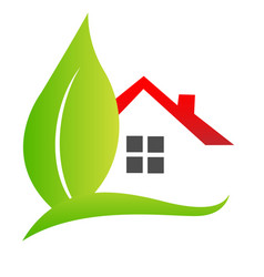 house and leaf logo real estate concept vector image