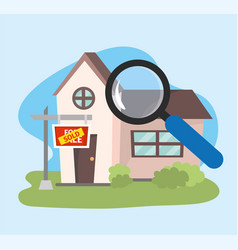 House sold property plan with magnifying glass vector