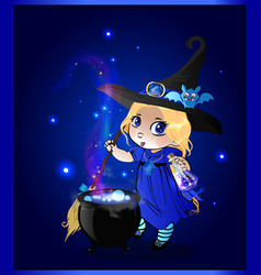 kawaii baby girl witch with broomstick and vector image