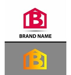 Letter b logo with home icon vector image