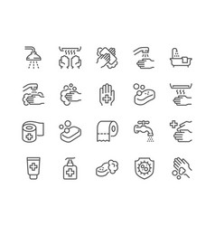 Line hygiene icons vector