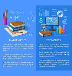 Mathematics and economics subjects info poster vector