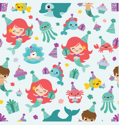 mermaid birthday sea friends seamless vector image