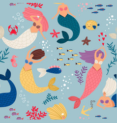 mermaid girls pattern vector image