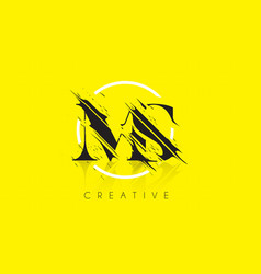 Ms letter logo with vintage grundge drawing vector