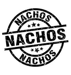 nachos round grunge black stamp vector image