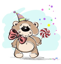 Nice little bear and candy vector image