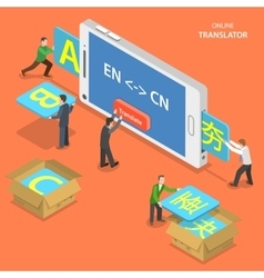 Online translator isometric flat concept vector image