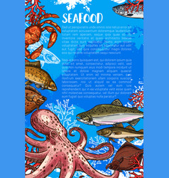 poster for seafood sketch fish food market vector image