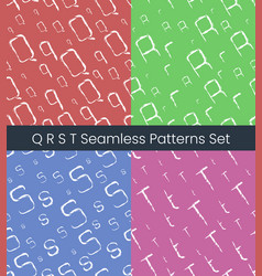 q r s t latin letter seamless patterns set vector image