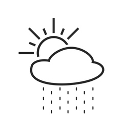 Rain with sun light or scattered shower weather vector
