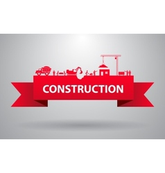 Red construction banner vector