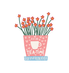 red flowers growing in cute pink pot design vector image