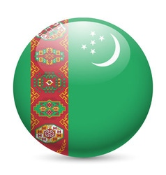 Round glossy icon of turkmenistan vector image