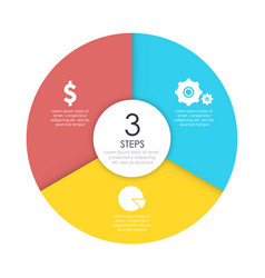 round infographic diagram circles of 3 elements vector image