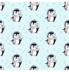 Seamless pattern penguin in scarf and headphones vector