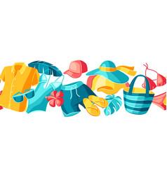 seamless pattern with beachwear and swimwear vector image