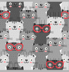 Seamless pattern with gray cats in red glasses vector
