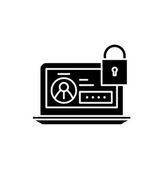 secure data black icon sign on isolated vector image