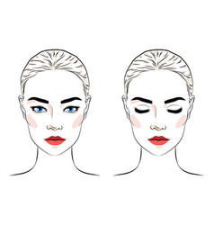 Set beautiful woman with bun hairstyle and vector