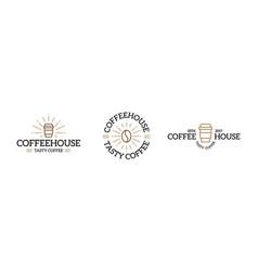 Set coffee logo emblem design templates vector