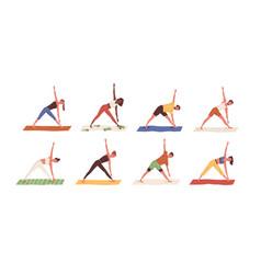 set happy people exercising yoga on mats men vector image