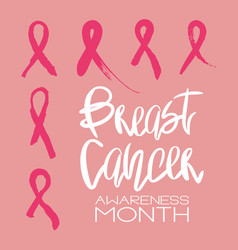 set of 6 pink ribbons - breast cancer symbol vector image
