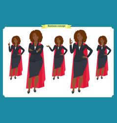 set of black businesswoman character design vector image