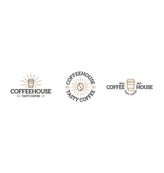 Set of coffee logo emblem design templates vector