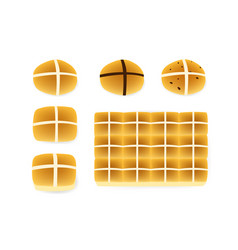 Set of hot cross buns on white top view vector