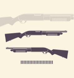 Shotgun hunting rifle with shells and silhouette vector