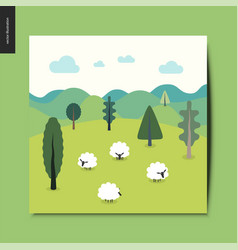 Simple things - landscape with sheep and hills vector