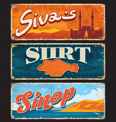 sivas shirt sinop turkey provinces plates vector image
