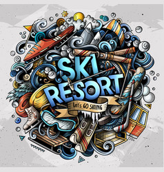 Ski resort hand drawn cartoon doodles vector