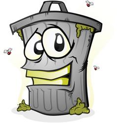 Smiling trash can cartoon character vector