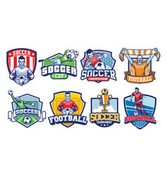 soccer badges design set vector image
