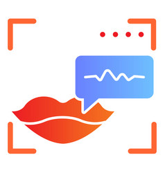Sound recognition and lips flat icon voice vector
