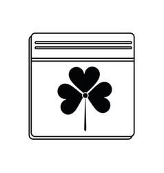 St patricks day calendar clover icon thin line vector