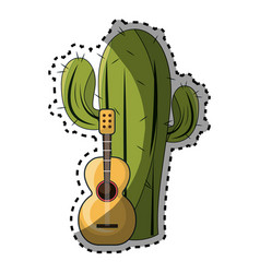 sticker cactus with thorns and acoustic guitar vector image