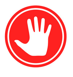 stop sign with human hand vector image