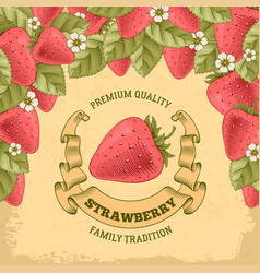 strawberry label vector image