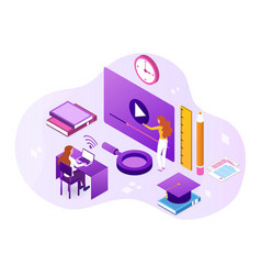 student learn online at home using video call vector image