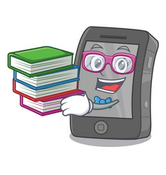 Student with book ipad in a cartoon shape vector