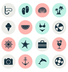 summer icons set collection of trees sea star vector image