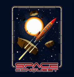 t-shirt or poster space stars vector image