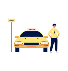 taxi service driver stand near yellow car vector image