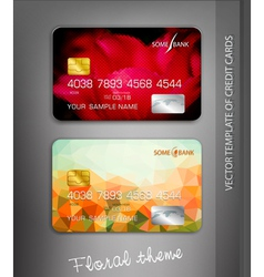 Template credit cards with flower themes vector
