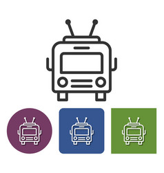 Trolleybus line icon in different variants vector