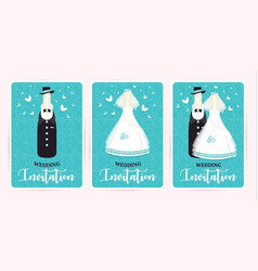 Turquoise wedding invitation card marriage vector