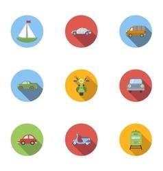 Vehicle icons set flat style vector image